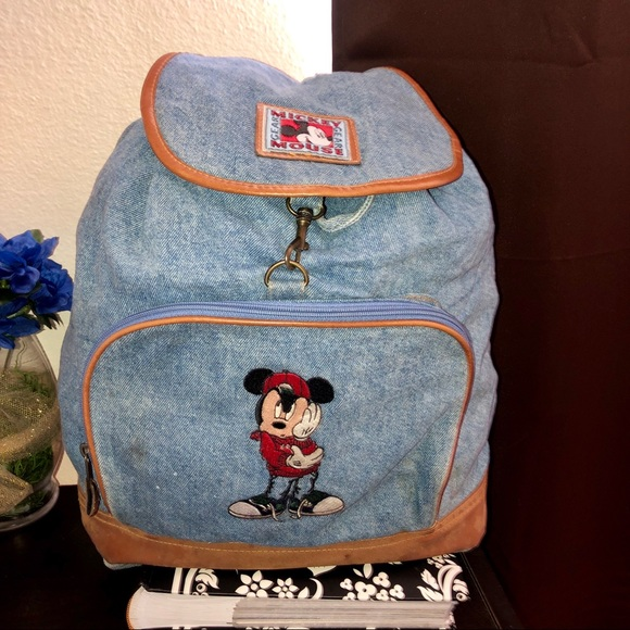 Disney Handbags - HP🎉Mickey Mouse Unlimited Jean Backpack Embroide